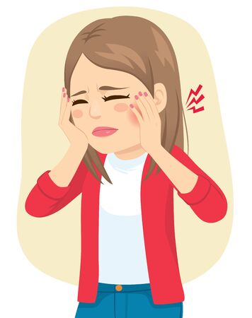 Young teenager woman in pain suffering toothache caries health problem Ilustração