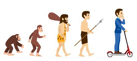Human evolution from primitive monkey to modern businessman riding scooter