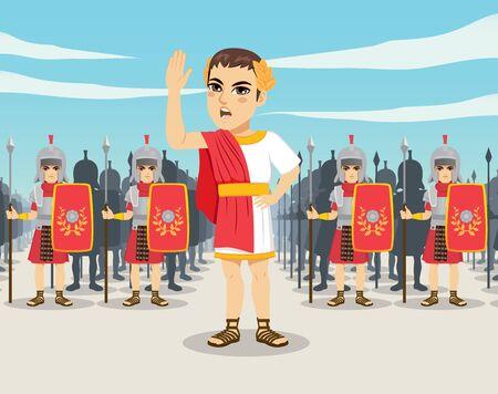 Infanteristen der Legionärsarmee des antiken Roms mit Schilden und Speeren auf dem Schlachtfeld und Patrizierführer vor Vektorgrafik