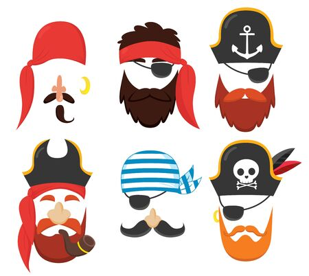 Funny carnival party pirate masks elements set collection