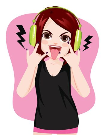 Young rock girl making horns hand gesture showing tongue while listening to music with headphones Standard-Bild - 131104232