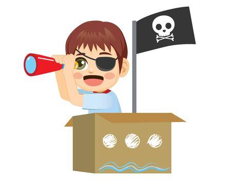Sailor pirate kid playing holding spyglass on cardboard box ship with black skull flag Illustration