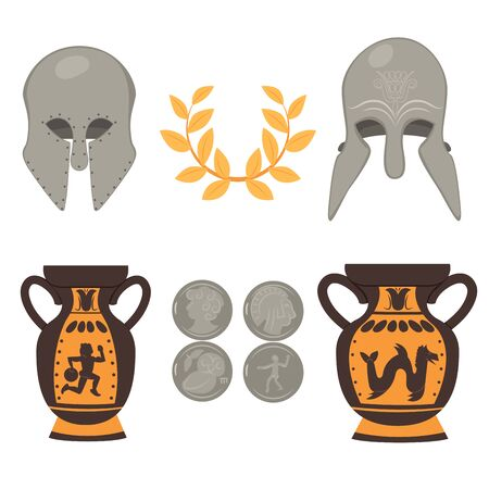 Traditional cultural symbols of ancient Greek set of laurel wreath metal helmet silver coins and ornament ceramic vase