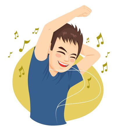 Teenager man in casual clothes listening music and dancing Illustration
