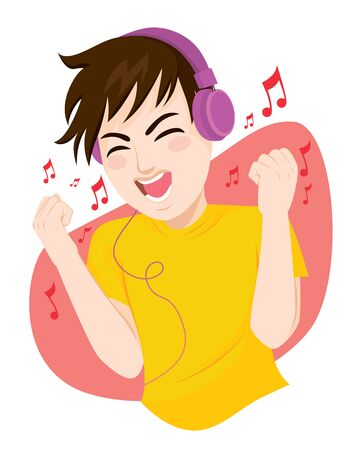 Happy teenager man listening to music and dancing using big headphones