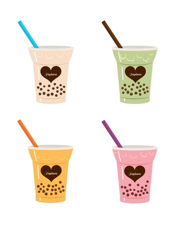 Four kinds of tapioca drink bubble tea cups set collection