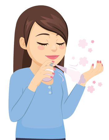 Beautiful young woman applying cologne on wrist Illustration