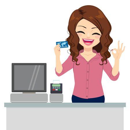 Schöne weibliche Angestellte, die Kreditkarte hält und mit der Hand ein OK-Zeichen macht Vektorgrafik