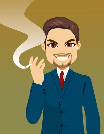 Young confident successful businessman holding cigarette smoking