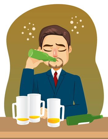 Businessman on bar with multiple beer mugs and bottle drinking alcohol addiction concept Illustration