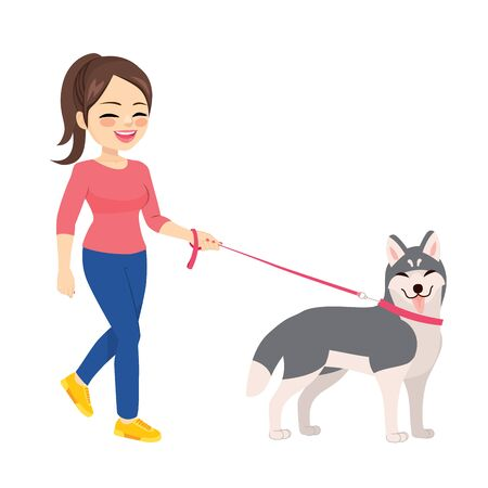 Happy young woman walking with husky dog pet Illustration