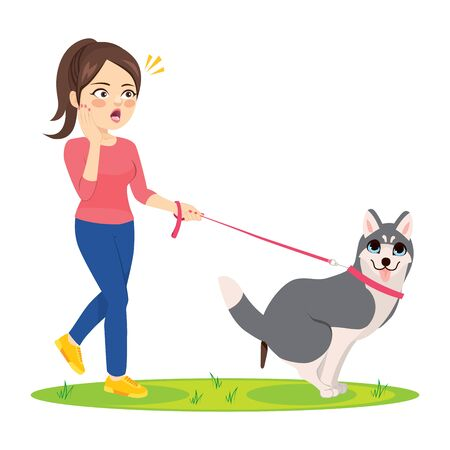Dog making poo on grass and woman surprised Standard-Bild - 131104274