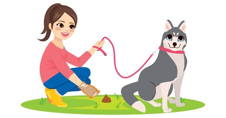 Young woman cleaning her husky pet dog poo