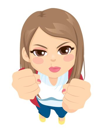 Up view of young girl angry with fists up and making funny face