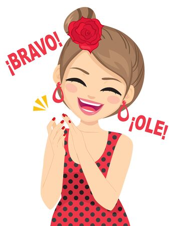 Happy beautiful young flamenco dancer woman clapping with Spanish Bravo and Ole text meaning fantastic and wonderful Illustration