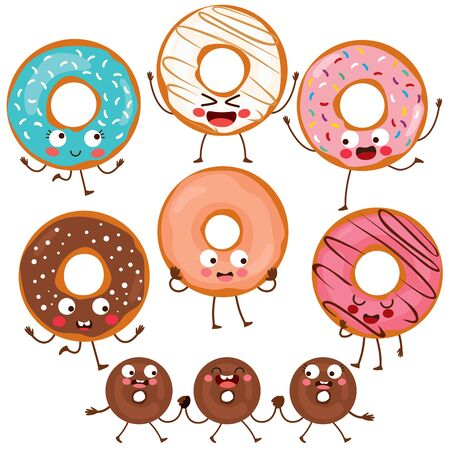 Cute funny variety doughnut characters set collection