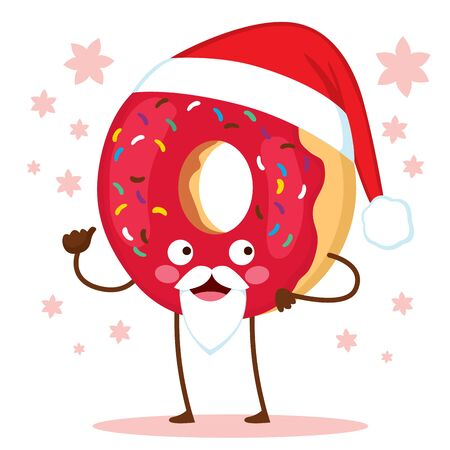 Cute doughnut character with Christmas Santa Claus hat and red frosted icing