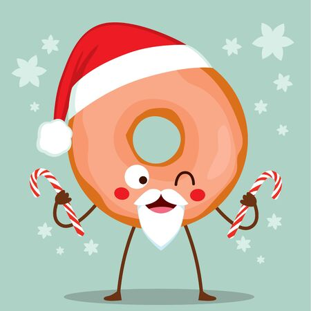 Cute doughnut character with Christmas Santa Claus hat and glazed icing holding candy canes
