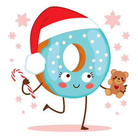 Cute doughnut character with Christmas Santa Claus hat and blue frosted icing holding candy cane and teddy bear