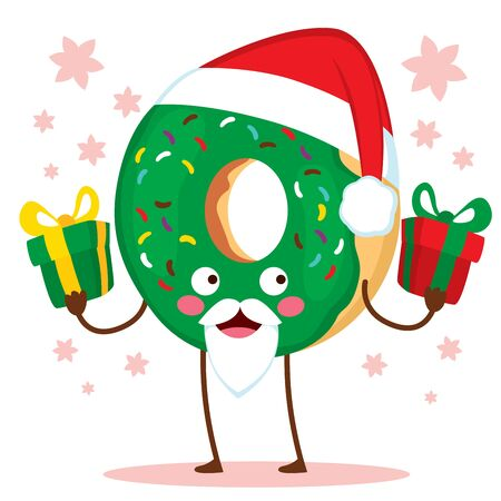 Cute doughnut character with Christmas Santa Claus hat and green frosted icing holding presents