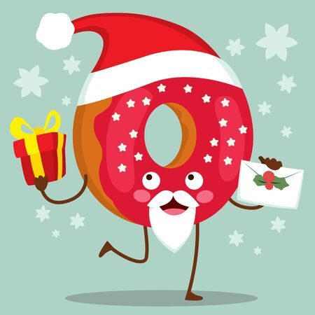 Cute doughnut character with Christmas Santa Claus hat and red frosted icing holding present and letter Illustration
