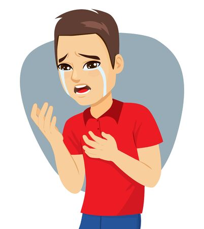Young sad upset desperate man crying resentment and pain Standard-Bild - 131056712