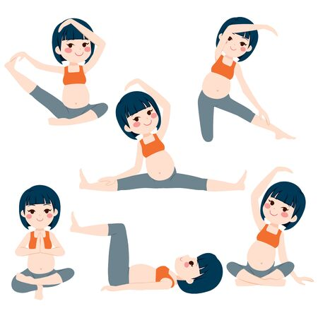 Young asian beautiful pregnant woman set poses collection training and exercising