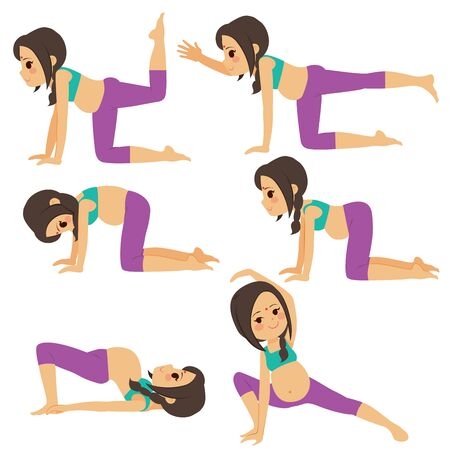 Young indian beautiful pregnant woman set poses collection training and exercising