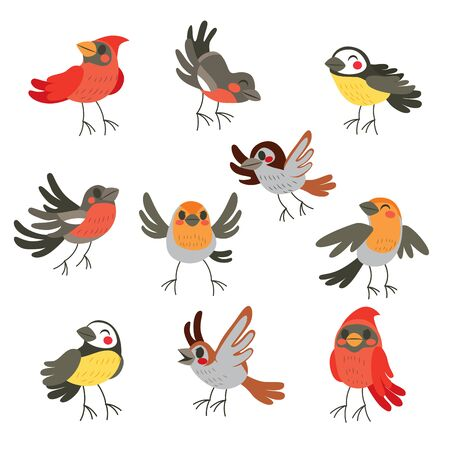 Cute collection set of ten funny birds in winter colors