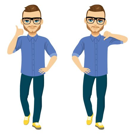 Standing man doing thumbs up or thumbs down  approval and disapproval concept