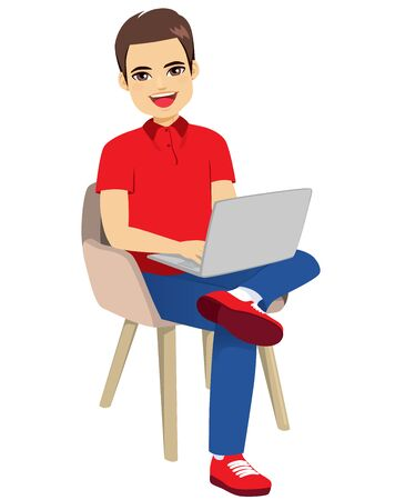 Happy man in casual clothes sitting on chair with laptop