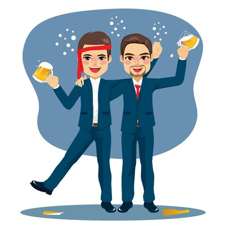 Drunk funny friends office business men after party holding mug beers