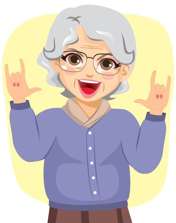 Illustration of funny grandmother rocking with horn hands up 矢量图像