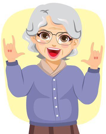 Illustration of funny grandmother rocking with horn hands up Illustration