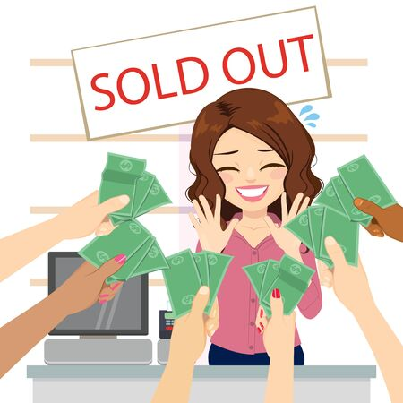 Beautiful stressed clerk on shop with sold out banner and crowd hands offering money take my money concept