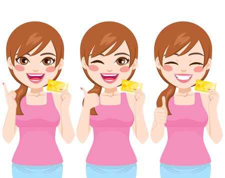 Young beautiful woman holding credit card on three different action with positive face expression
