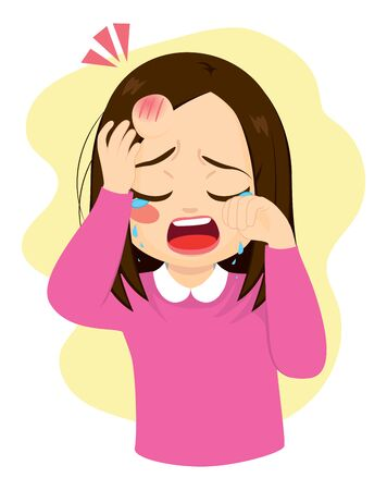 Young little girl crying in pain with bump bruise on forehead Illustration