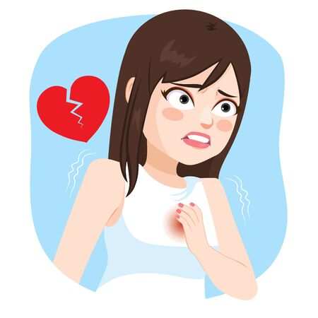 Young girl with hand on chest suffering heart stroke pain Illustration