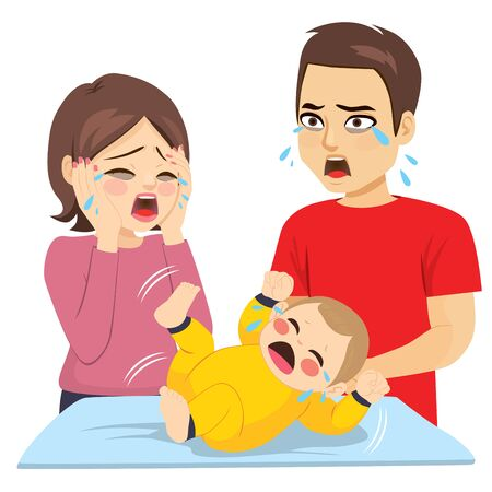 Two young tired parents desperate with baby ill crying