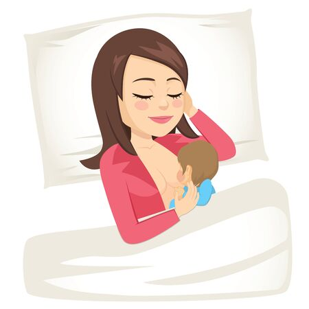 Young mom breastfeeding little newborn baby lying resting in bed