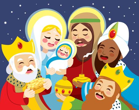 Illustration of nativity scene with Mary holding baby Jesus birth Joseph and three wise men bringing presents Illustration