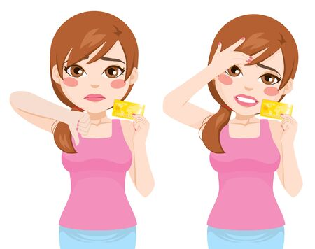 Young woman holding credit card negative face expressions Illustration