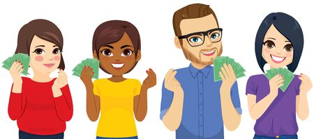 Group of four diverse people showing money and gesturing with hands Illustration