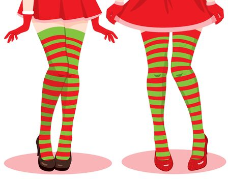 Two female legs wearing red and green Christmas stockings Illustration