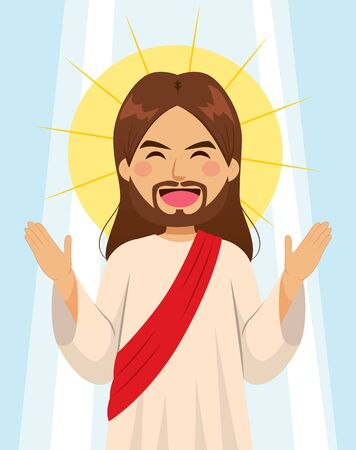 Jesus Christ son of God with open arms and aureole