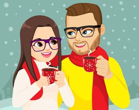 Couple on Christmas winter time holding hot cocoa mug Stock Illustratie