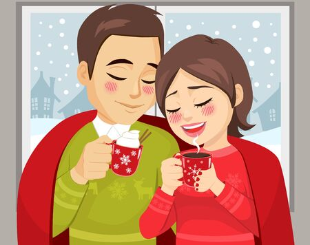 Cute couple on Christmas winter time enjoying hot drink mug under red blanket Stock Illustratie