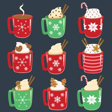 Collection set of Christmas mugs with hot drinks
