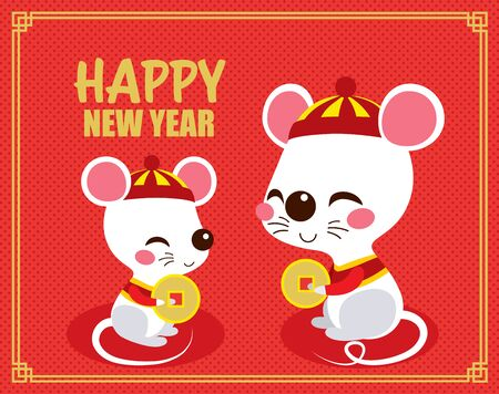 Cute happy rats holding chinese golden coin celebrating new year sitting on red background Illustration