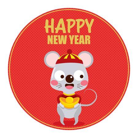 Cute happy rat holding Chinese gold celebrating new year Illustration